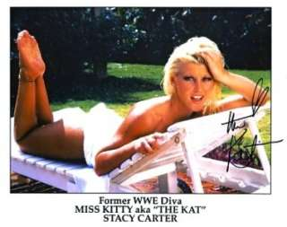 BEAUTIFUL THE KAT STACY CARTER SIGNED SEXY PHOTO LAYING IN CHAIR. WWE