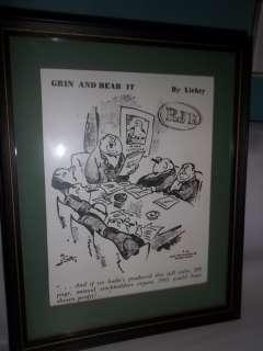 RJR RJ Reynolds Tobacco Framed Cartoon Grin & Bear It 1961