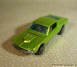 1968 Hot Wheels Redline Custom Mustang Lime Anti Freeze Louvered
