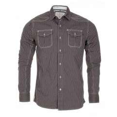 Blue Inc Mens Blend Striped Utility Shirt Dark Grey