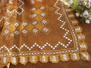 Vintage Handmade Filet lace Cotton Table Cloth Orange