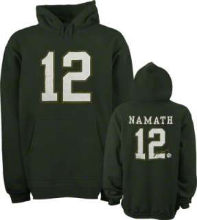 Joe Namath New York Jets Green Hall Of Fame Name & Number Hooded