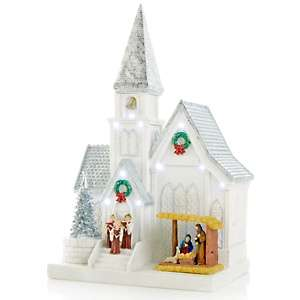 Winter Lane Tabletop Church Decoration with LED Lights