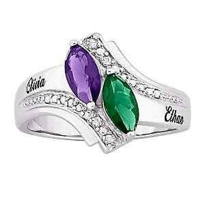 Sterling Silver Marquise Birthstone Color Crystal Name Ring with