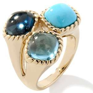 Gems Sleeping Beauty Turquoise and Blue Topaz 14K Ring