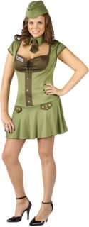 Costume includes drop waist dress with lace up bust and name tag