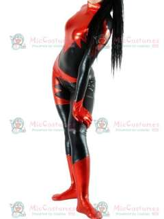 Black And Red Shiny Metallic Unisex Catsuit for Sale