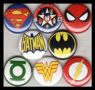 SUPER HERO LOGOS 1 buttons badges BATMAN GREEN LANTERN