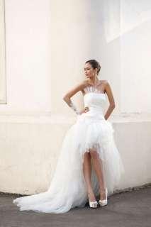 Cute White Tulle Short Custom made Wedding dress Bridal Gown Sz Free