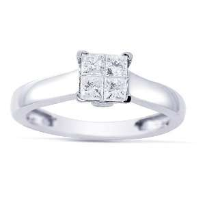 Womens 14k White Gold Engagement Ring (1/2 cttw I J Color, I1 I2