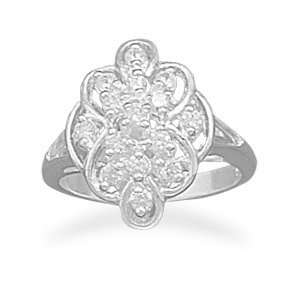 Diamond Shaped Cz Sterling Silver Ring Size 10 CleverSilver Jewelry