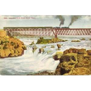 1910 Vintage Postcard Railroad Bridge and American Falls   Snake River