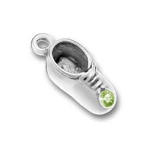 Sterling Silver Crystal Birthstone Baby Shoe Charm for