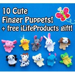 10 Cute Soft Plush Finger Puppets (Fits Smaller Hands