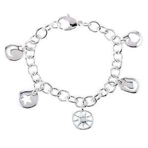 Tiffany style Sterling Silver Pierced Charm Bracelet
