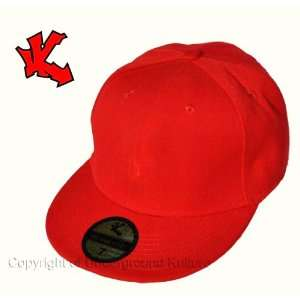 Plain Red Fitted Flat Peak Baseball Cap 7 1/4