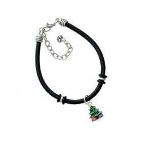 Enamel Christmas Tree Black Charm Bracelet Arts, Crafts