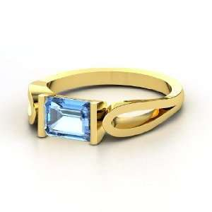 de Loop Ring, Emerald Cut Blue Topaz 14K Yellow Gold Ring Jewelry