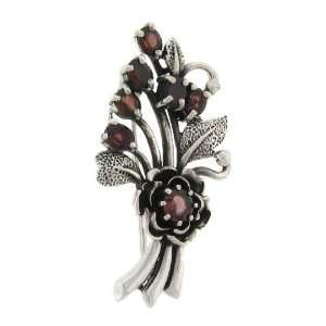 Sterling Silver Marcasite Red Flower Bouquet Brooch Jewelry