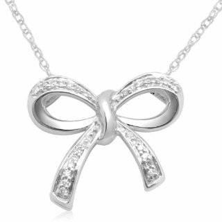 10k White Gold Diamond Bow Necklace Jewelry