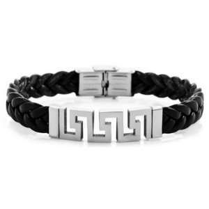 Silver Stainless Steel Black Leather Bracelet Cuff Bangle Jewelry