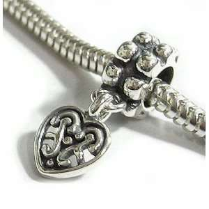 Silver Sweet Heart Love dangle Bead Charm for Pandora Troll Chamilia
