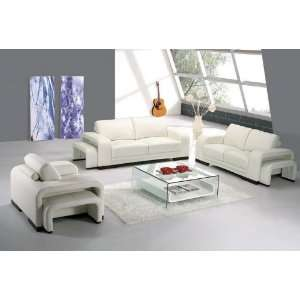 piece off white leather living room furniture set