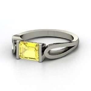 de Loop Ring, Emerald Cut Yellow Sapphire 14K White Gold Ring Jewelry