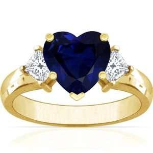14K Yellow Gold Heart Cut Blue Sapphire Three Stone Ring Jewelry