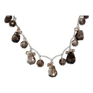 Silver 16 inch Faceted Smoky Quartz Teardrop and Ball Necklace
