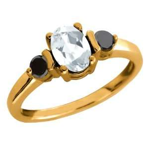 0.90 Ct Oval White Mystic Quartz and Diamond Gold Plated