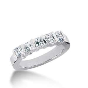 14K Gold Diamond Anniversary Wedding Ring 5 Princess Cut Diamonds 1.4