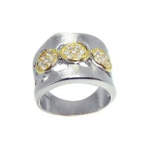 Silver Matte Finish With 3 Gold Plated Circle Ring Size 6 Jewelry
