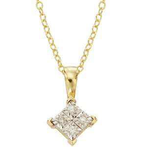 14k Gold Plated Silver Diamond Accent Solitaire Pendant Jewelry