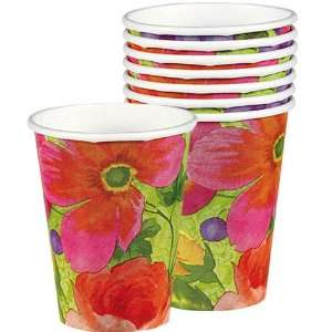 Bright Blooms Disposable Paper Party Cups