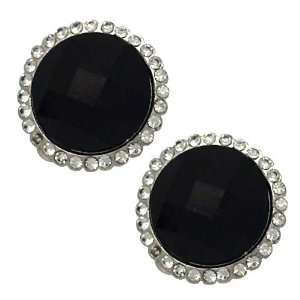 Charm Silver Black Crystal Clip On earrings Jewelry