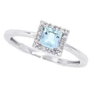 0.45ct Emerald Cut Aquamarine and Diamond Ring in 10Kt