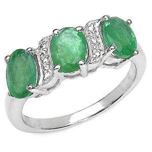 2.55 Carat Genuine Emerald Ovals Silver Ring Jewelry