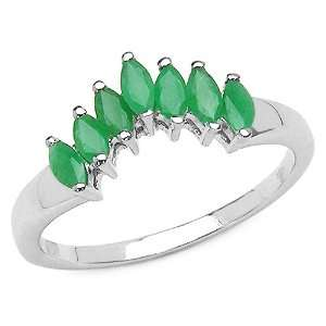 0.70 Carat Genuine Emerald Marquise Silver Ring Jewelry