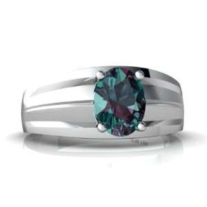 White Gold Oval Created Alexandrite Mens Mens Ring Size 7 Jewelry