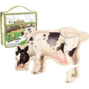 Wild Republic Wooden Floor Puzzle Cow: Toys & Games