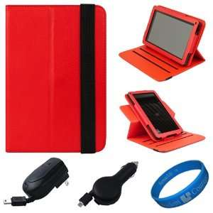 SumacLife Red Textured Leather Folio Case Cover with Fold