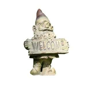 Napco Gnome Garden Statue With Welcome Sign, 13 1/4 Inch Tall by 8 3/4