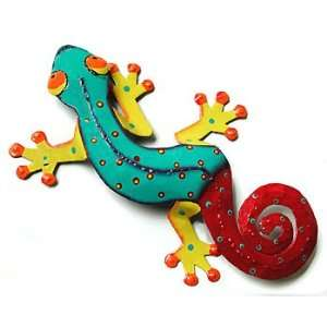 Hand Painted Metal Gecko Wall Sculpture   Haitian Metal