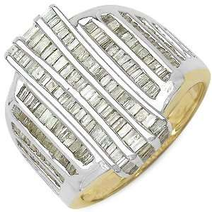86 Carat 14K Gold Plated Genuine Diamond Accents Sterling Silver Ring