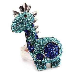Rhinestone Stretch Adjustable Ring Animal Sparkle Silver Blue Jewelry