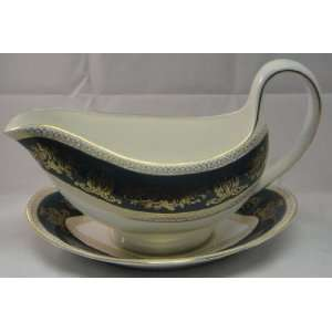 Wedgwood Columbia Blue & Gold Gravy Boat W/Underplate