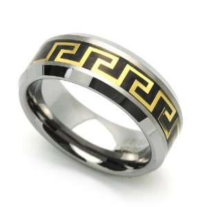 Band Gold Plated Greek Key Inlaid Ring (7 to 14) Size 10.5 Cobalt Free