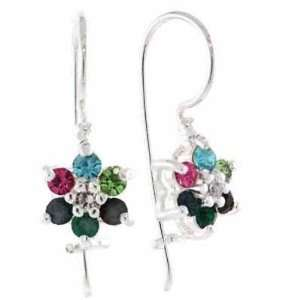 , Green, Red, Green, and Light Blue Crystal Flower Earrings Jewelry