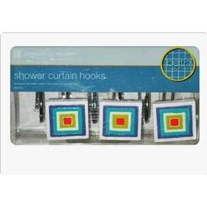 Novelty Multi Color Square Pattern Shower Hooks: Home & Kitchen